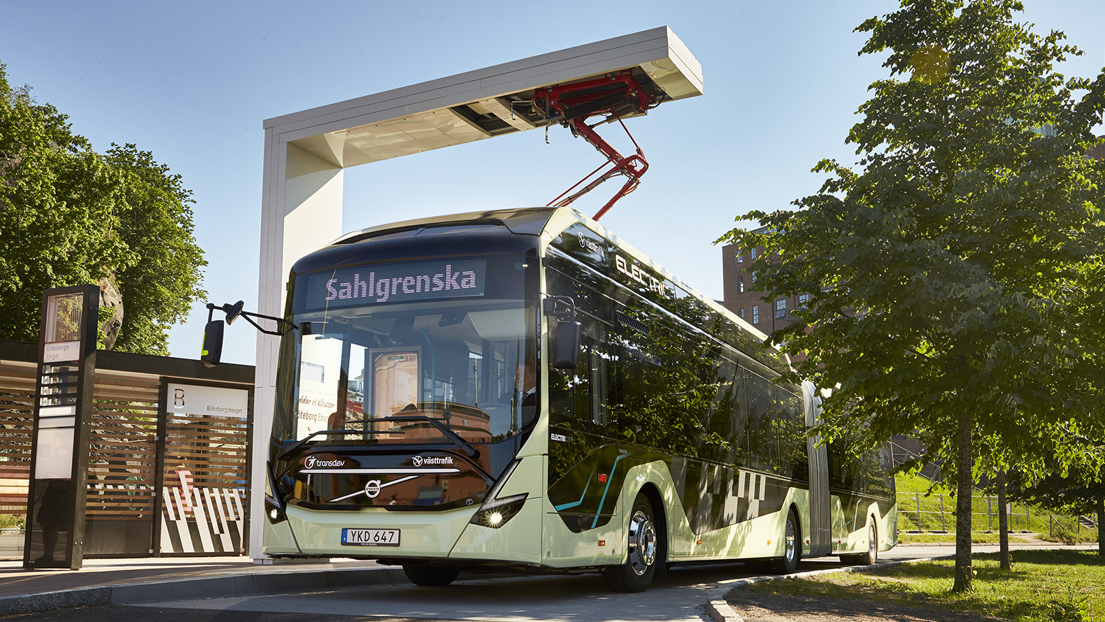 A Volvo bus, operated by Transdev is being charged by an ABB charger.